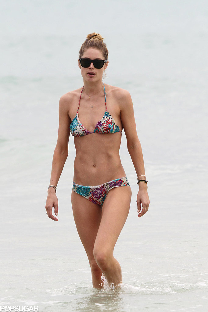 Bikini-Clad Doutzen Has a PDA-Filled Beach Day With Her Boys