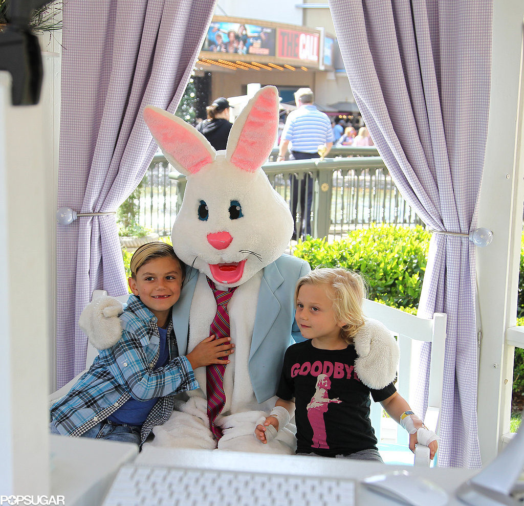 Kingston and Zuma Rossdale met the Easter Bunny at The Grove.