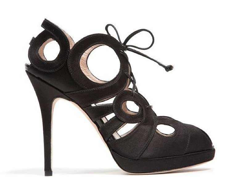 Monique Lhuillier Black Satin Pump ($940)