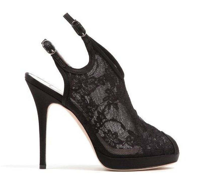 Monique Lhuillier Black Lace Over Mesh Sandal ($875)