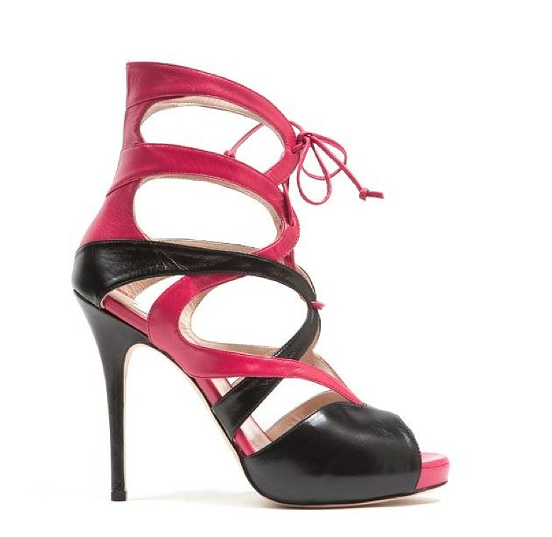 Monique Lhuillier Fuchsia Kid/Black Kid Combo Sandal ($895)