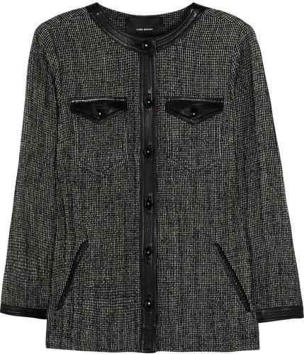 Isabel Marant Kailey leather-trimmed tweed jacket