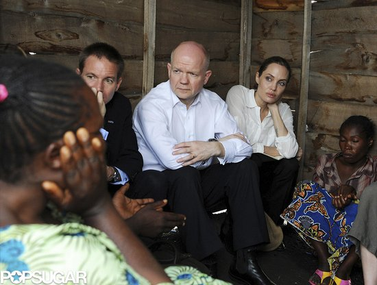 Angelina Jolie talked with female refugees.