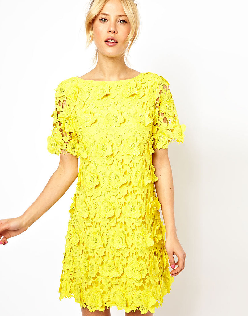 We love the texture of this ASOS yellow flower lace shift dress ($203) and would pair it with white ankle-strap sandals for a fresh-as-flowers feel.
