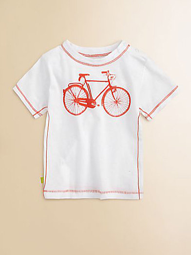 He can sport Egg Baby's boys' bicycle tee ($35) while he learns to ride.