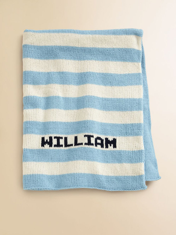 Personalize this classic blue and ivory striped baby blanket ($110) with your little one's name for a beautiful keepsake they'll love now and later.