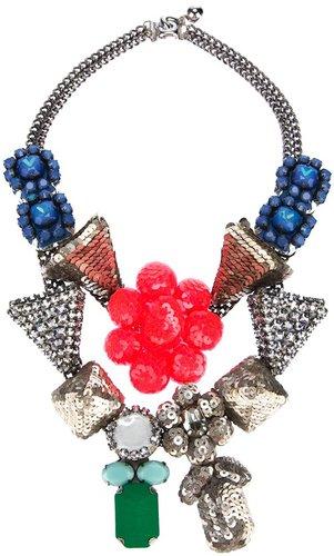 Shourouk Fluo Pink Flower Necklace