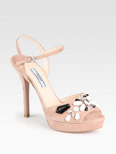 Prada Suede Stone-Accent Sandals