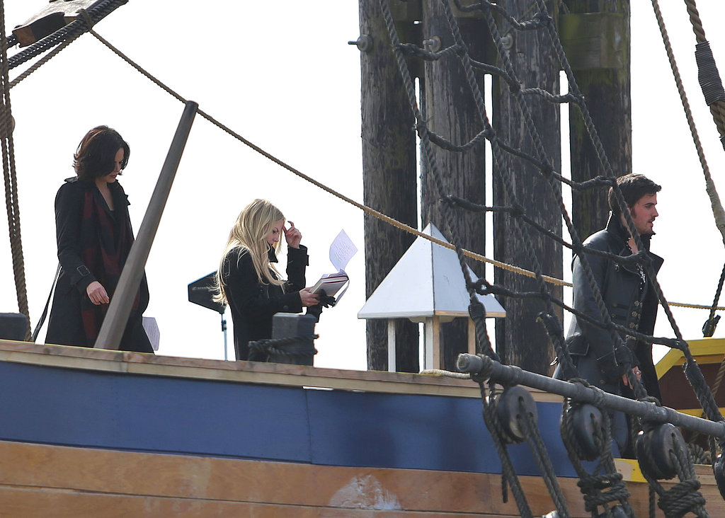 Jennifer Morrison, Lana Parrilla, and Colin O'Donoghue filmed scenes aboard Captain Hook's pirate ship for Once Upon a Time on Tuesday in Vancouver.