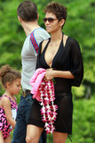 Halle Berry and Nahla Aubry were dressed for the beach.