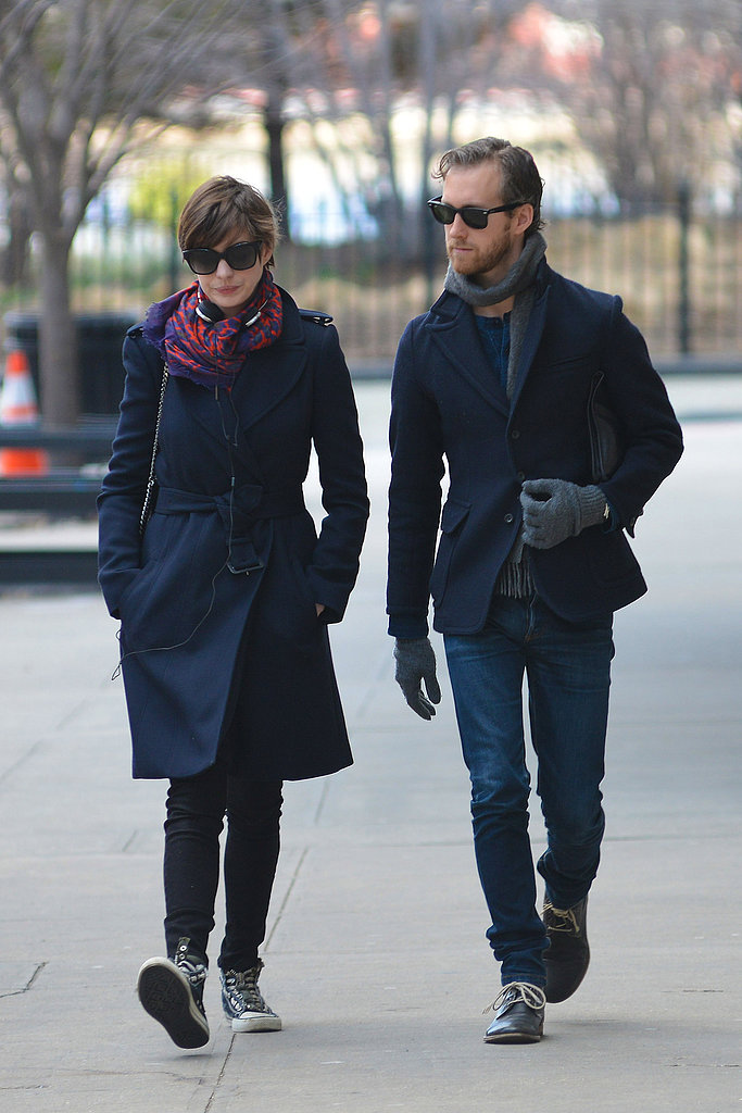 Anne Hathaway and Adam Shulman strolled through the Brooklyn neighborhood.