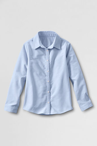 Juniors' Long Sleeve Oxford Shirt