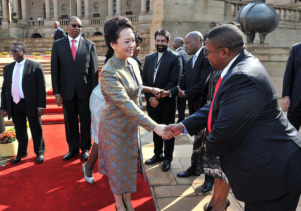 The Chinese first lady was welcomed to Pretoria.