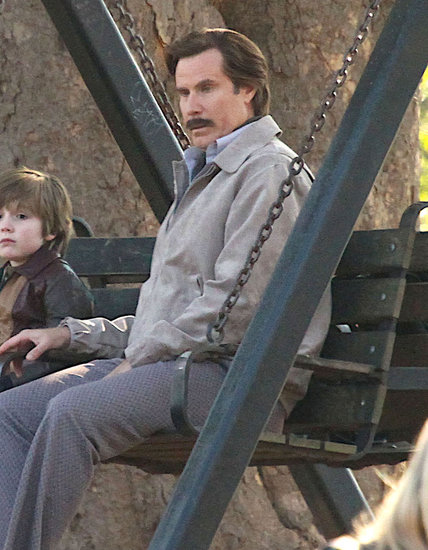 Will Ferrell got into character as Ron Burgundy on Wednesday while filming scenes in Atlanta for Anchorman 2.