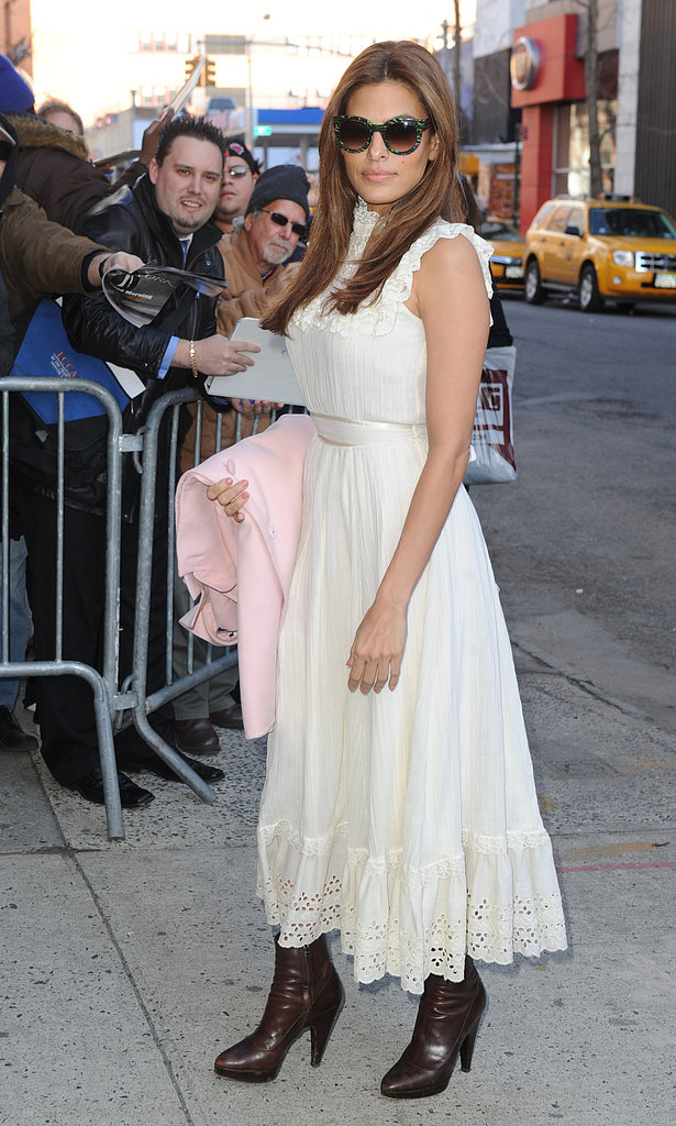 Eva Mendes wore a white dress in NYC.