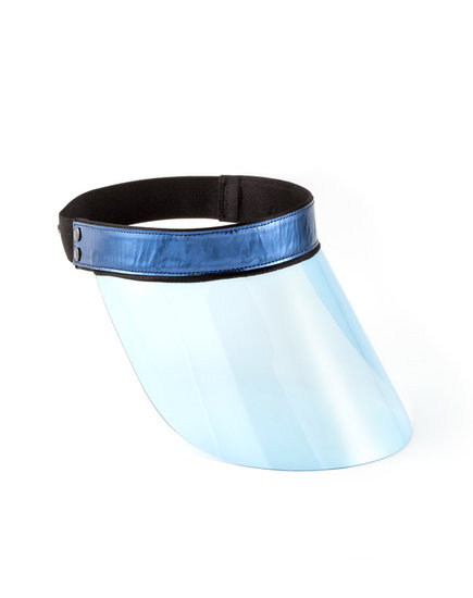 If you're looking to strike a much more fashion-forward vibe, try on this Lanvin PVC visor ($650).