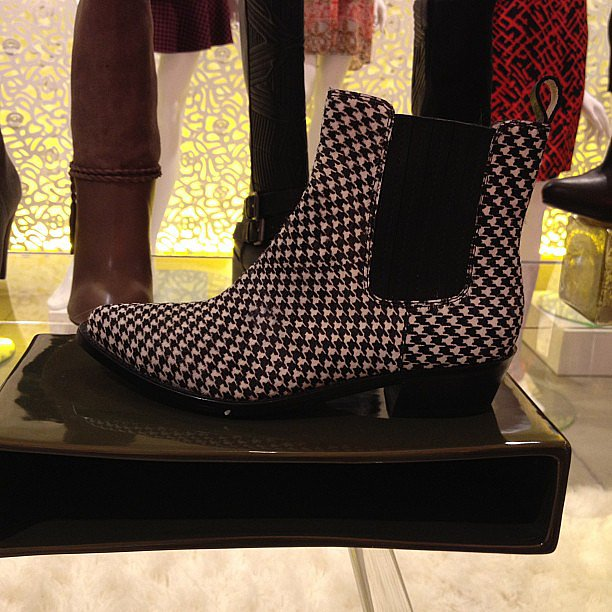 Houndstooth pony-hair booties from Ella Moss.