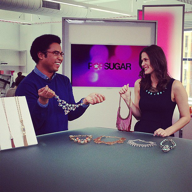 Assistant fashion news editor Justin Fenner and associate fashion editor Hannah Weil had some fun while talking about this Spring's must-have statement necklaces.