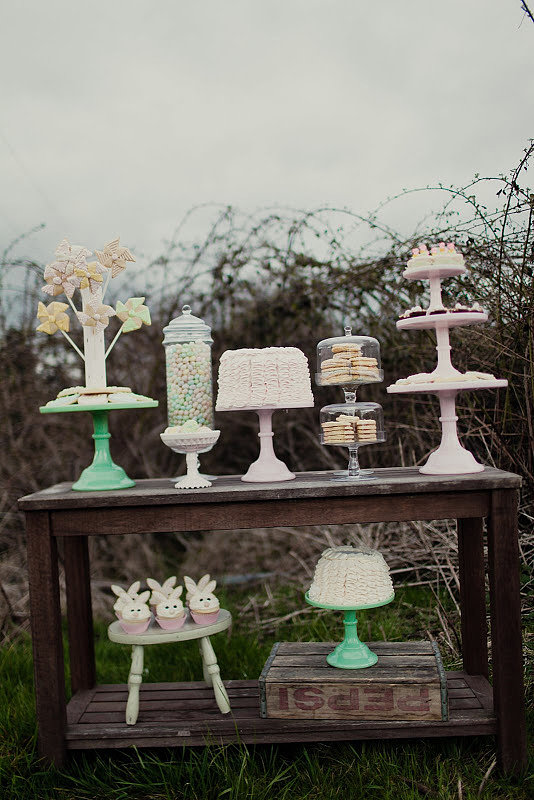 Outside, a rustic wooden backdrop created a cool contrast with the lightly colored dessert spread. Source: Kaylee Eylander Photography via Jenny Cookies