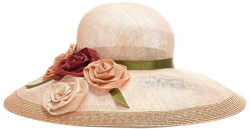 Sinamay Straw with Roses Derby Hat