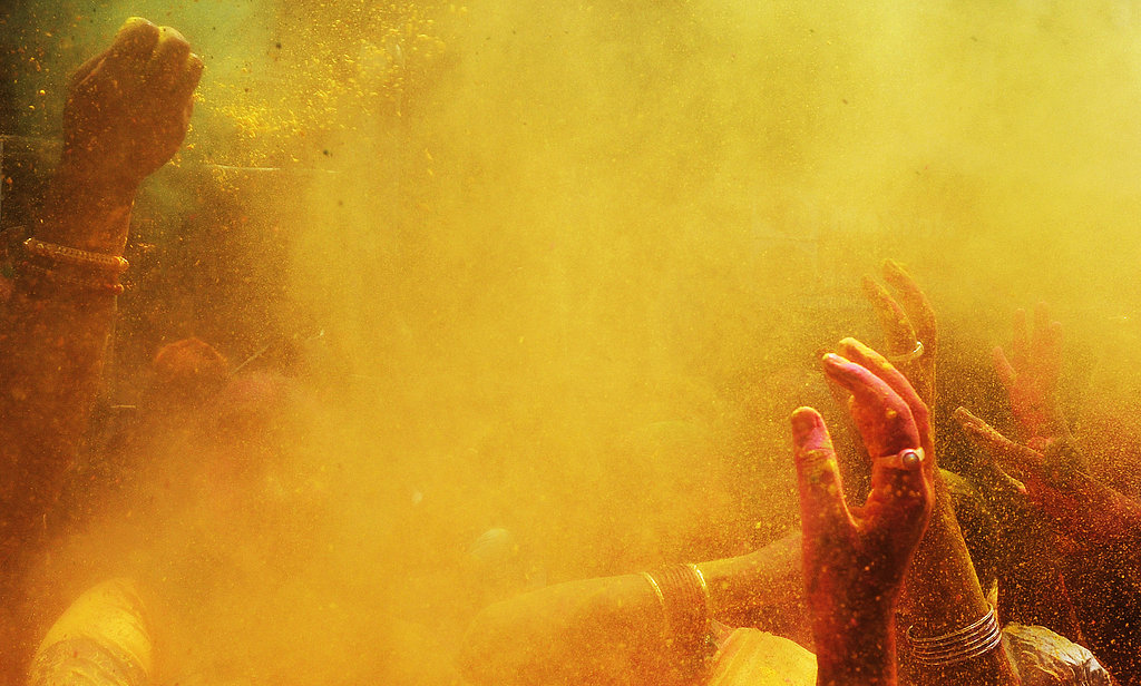 Yellow powder filled the air in Kolkata, India.