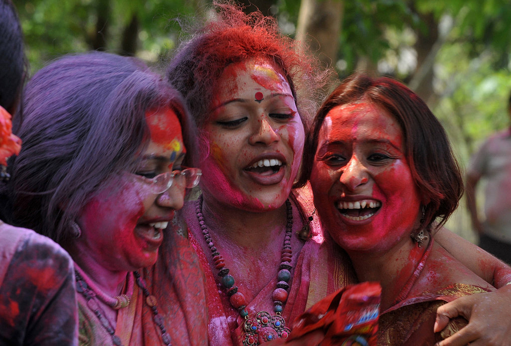 Three women were all smiles in Siliguri, India.