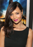 Thandie Newton gave us the perfect Spring style update: sideswept hair and a bright lip color.