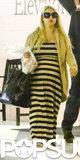 Jessica Simpson wore a striped maxi dress.