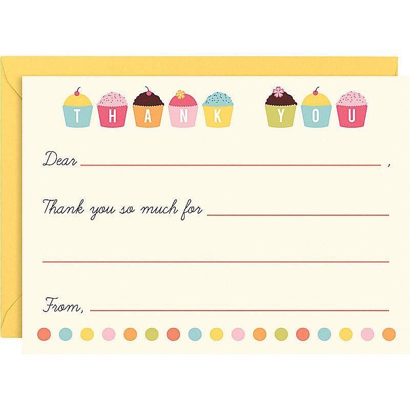 With the darling cupcake thank you notes ($12 for a set of 10) from Paper Source, your little one just needs to fill out specifics.