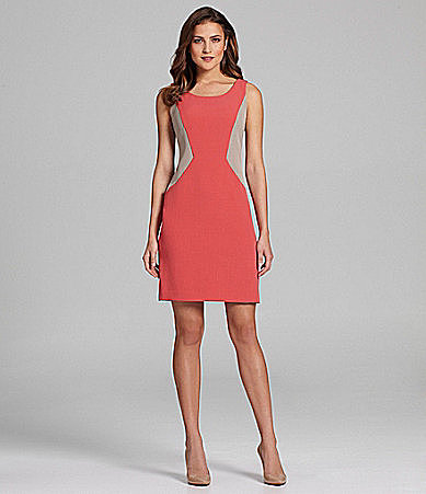 Leslie Fay Sleeveless Colorblock Crepe Dress