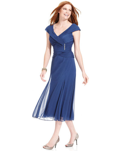 Alex Evenings Dress, Cap-Sleeve Portrait-Collar Pleated