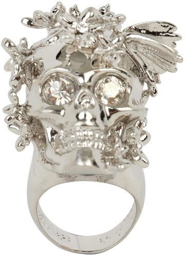 Silver/White Crystal Butterly Skull Ring