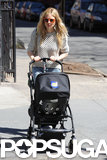 Sienna Miller attached a Human Rights Campaign sticker to her baby carriage.