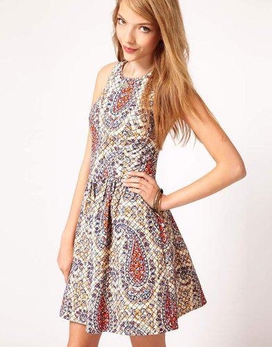 ASOS Dress In Quilted Paisley Print