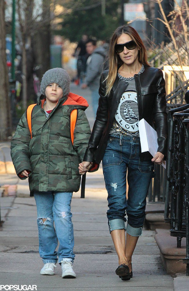 Sarah Jessica Parker and James Wilkie made their way to his school in NYC.