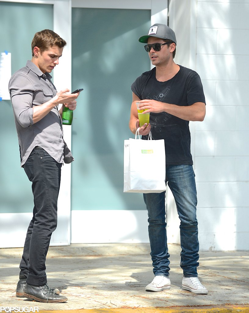 Zac Efron chatted with costar Dave Franco on set in LA.