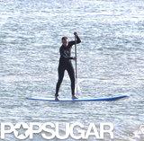Robert Pattinson went paddleboarding in Malibu.