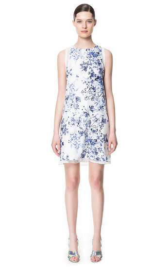 "Finish this Zara layered printed dress ($70) with a white blazer and metallic heels for the chicest of ""garden party"" looks."