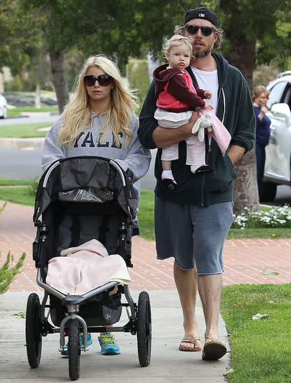 Jessica Simpson took a walk on Easter Sunday with Eric Johnson and Maxwell in LA.