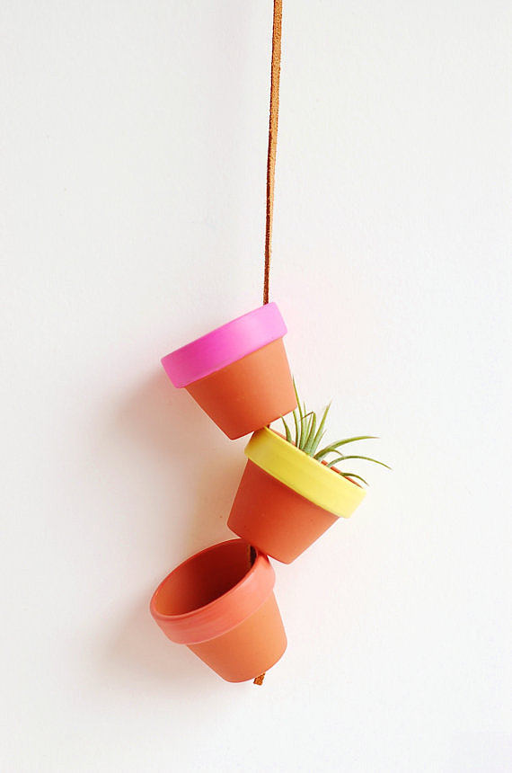 Three mini terracota planters ($18) look cheery and fun when strung together on a leather cord — perfect for air plants, ferns, or a little hanging herb garden.