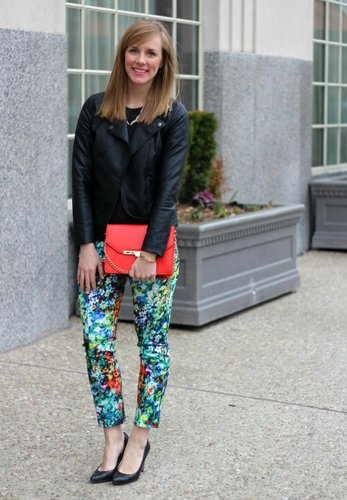 Florals and Leather for a night look