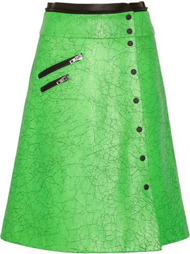 Rag & bone Neon cracked-leather wrap skirt