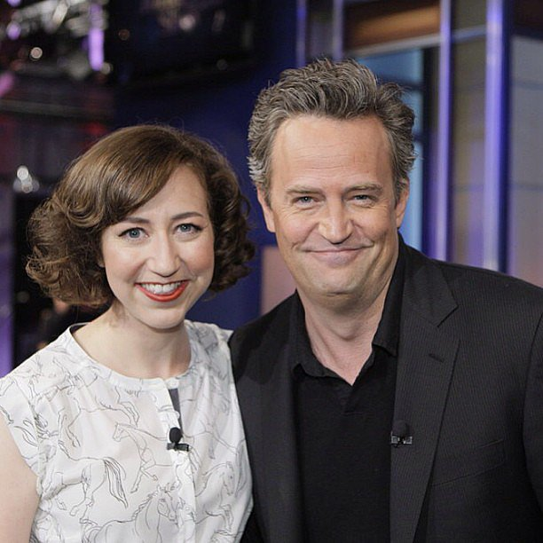 The Tonight Show With Jay Leno guests Kristen Schaal and Matthew Perry stopped to smile for the camera. Source: Instagram user tonightshow