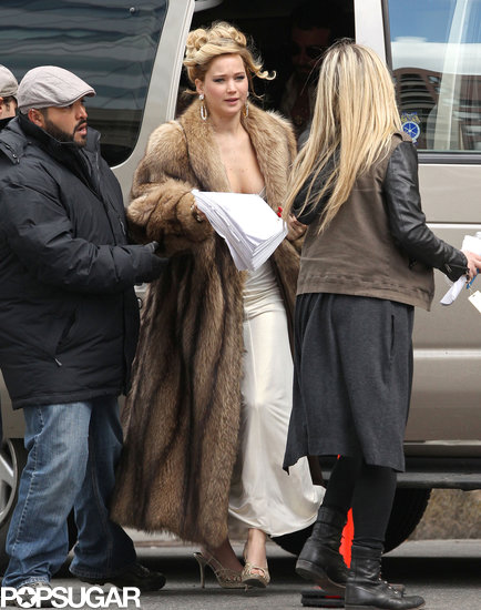 Jennifer Lawrence had her hair in an updo on a Boston set.