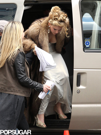 Jennifer Lawrence wore a fur jacket on set.