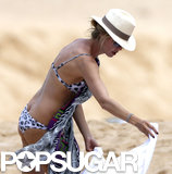Heidi Klum paired her bikini with a printed cover-up.