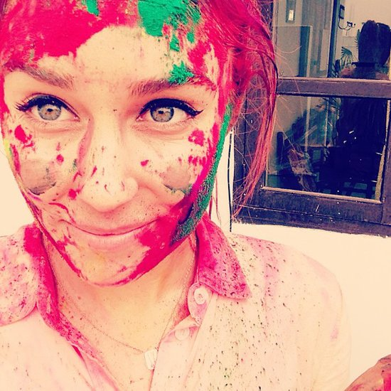 Lauren Conrad showed off her colors after the Holi Festival. Source: Instagram user laurenconrad