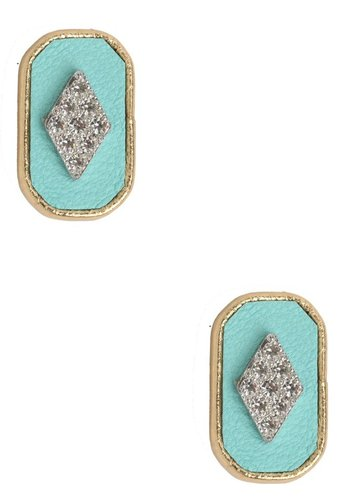 Sandy Hyun Teal Oblong Studs