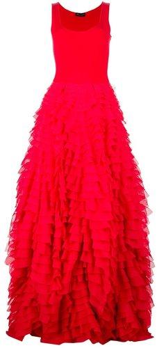 Antonino Valenti silk tiered floor-length gown