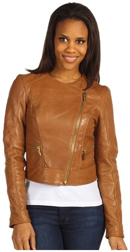 MICHAEL Michael Kors - Leather Biker Jacket w/ Qlt (Luggage) - Apparel